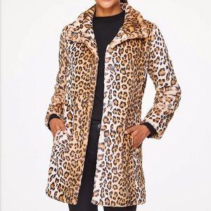 LOFT leopard print faux fur coat, new with tags!